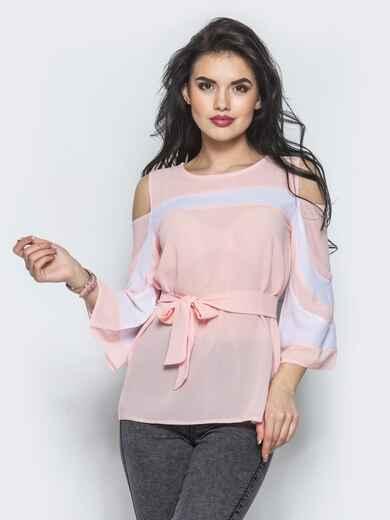 Розовая блузка с открытыми плечами и рукавами-клёш - 12198, фото 1 – интернет-магазин Dressa