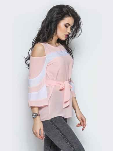 Розовая блузка с открытыми плечами и рукавами-клёш - 12198, фото 2 – интернет-магазин Dressa