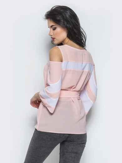 Розовая блузка с открытыми плечами и рукавами-клёш - 12198, фото 3 – интернет-магазин Dressa