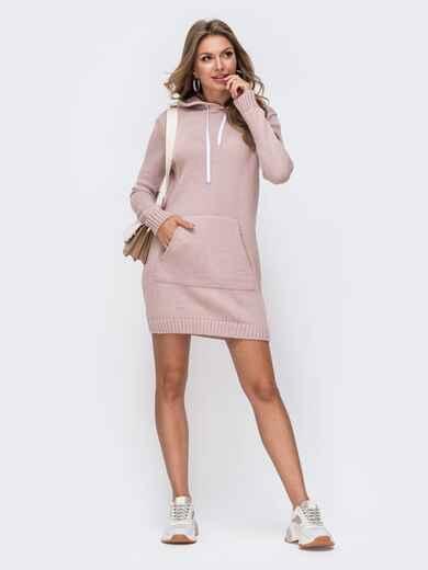 Розовая вязаная туника с капюшоном и карманом спереди 50400, фото 1