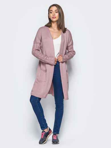 "Розовый кардиган с узором ""плетенка"" на рукавах - 15812, фото 1 – интернет-магазин Dressa"