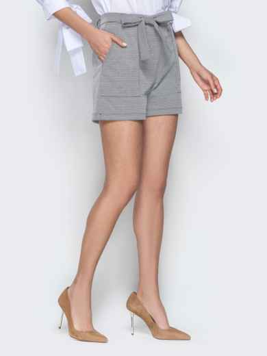 Серые шорты с накладными карманами и поясом 20644, фото 2