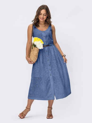 Синее платье из прошвы с пуговицами 54877, фото 1