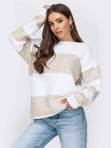 Вязаный полосатый свитер бежевого цвета 53592, фото 1