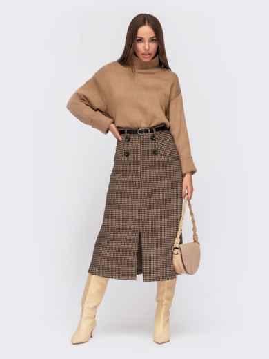 Коричневая юбка-миди из жаккарда с декоративными пуговицами 55588, фото 1