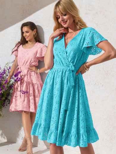 Голубое платье из прошвы с резинкой по талии 53900, фото 1
