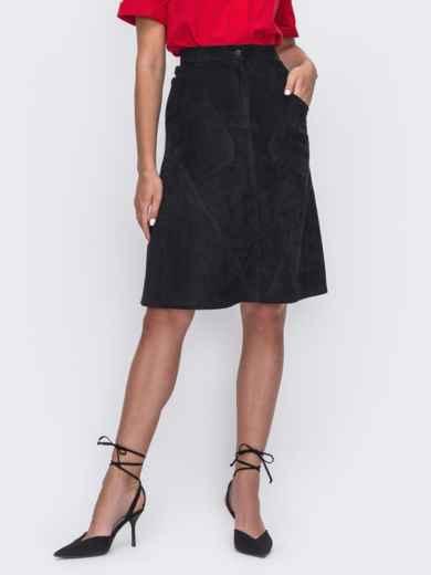 Тёмно-синяя юбка-трапеция с карманами спереди 49530, фото 1