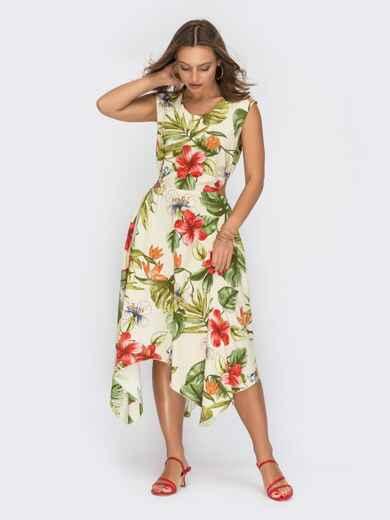 Асиметричне плаття зі штапелю з квітковим принтом жовте 54026, фото 1