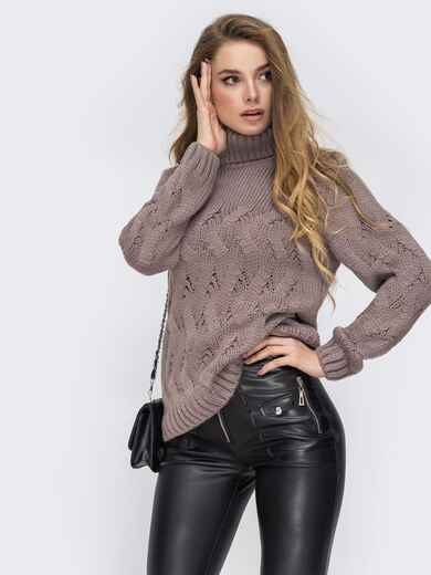 Ажурный свитер с высоким воротником и манжетами серый 42044, фото 1