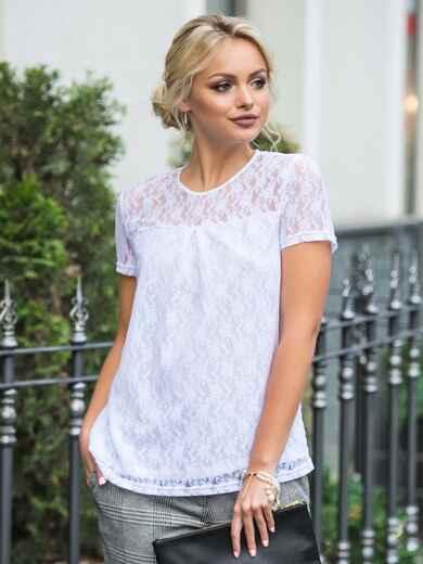 Белая блузка из тонкого гипюра с подкладкой - 14274, фото 1 – интернет-магазин Dressa