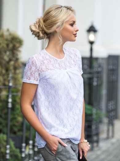 Белая блузка из тонкого гипюра с подкладкой - 14274, фото 2 – интернет-магазин Dressa