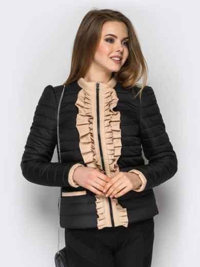 Черная куртка с контрастной рюшей на полочке - 12938, фото 2 – интернет-магазин Dressa