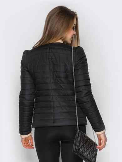 Черная куртка с контрастной рюшей на полочке - 12938, фото 3 – интернет-магазин Dressa