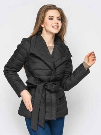 Черная куртка с потайными кнопками на полочке - 12942, фото 2 – интернет-магазин Dressa