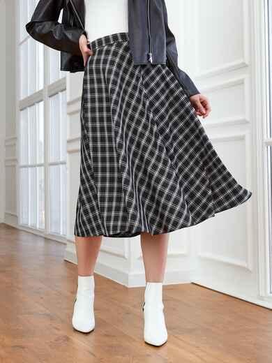 Черная юбка А-силуэта в клетку с карманами 53553, фото 1