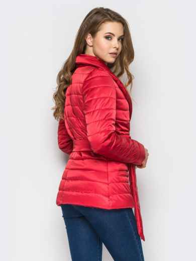 Красная куртка с потайными кнопками на полочке - 12944, фото 2 – интернет-магазин Dressa