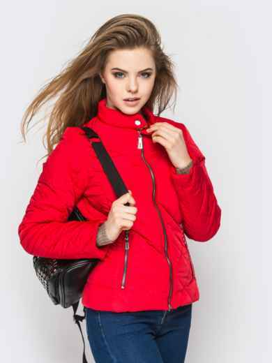 Красная куртка с воротником на кнопке - 12934, фото 2 – интернет-магазин Dressa