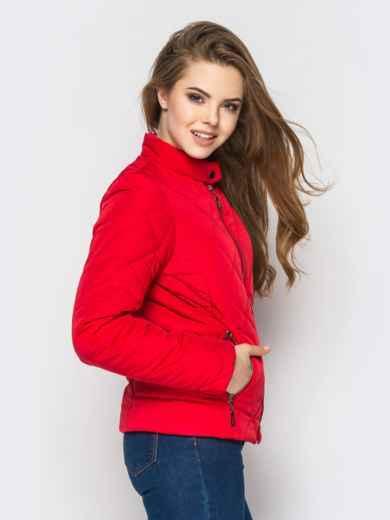 Красная куртка с воротником на кнопке - 12934, фото 4 – интернет-магазин Dressa