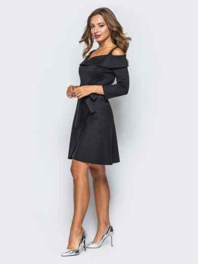 Платье черное с имитацией запаха и открытыми плечами - 16833, фото 2 – интернет-магазин Dressa