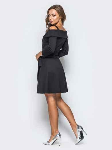 Платье черное с имитацией запаха и открытыми плечами - 16833, фото 3 – интернет-магазин Dressa