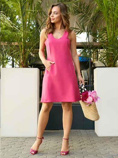 Платье-мини на широких бретелях розовое 11559, фото 5