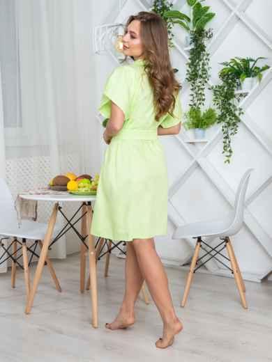 Салатовый халат с авторским принтом и вшитым поясом - 20433, фото 2 – интернет-магазин Dressa