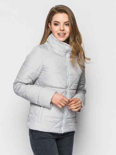 Серая куртка на силиконе с высоким воротником - 12932, фото 2 – интернет-магазин Dressa