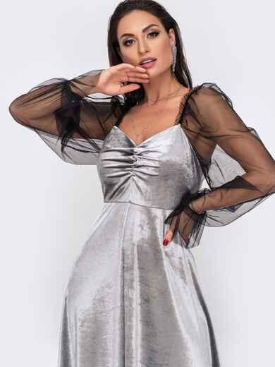 Велюровое платье батал с фатиновыми рукавами серое 52161, фото 1