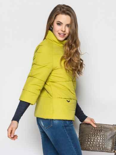 Желто-зелёная куртка на силиконе с рукавом 3/4 - 12954, фото 2 – интернет-магазин Dressa
