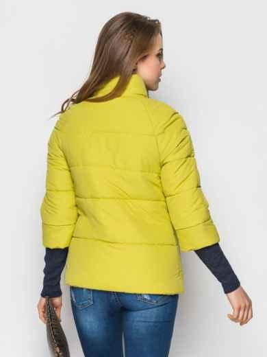 Желто-зелёная куртка на силиконе с рукавом 3/4 - 12954, фото 3 – интернет-магазин Dressa