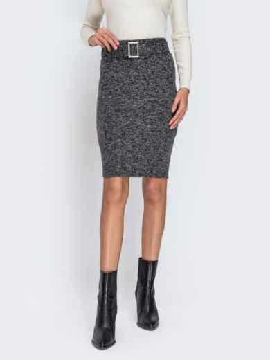 Серая юбка-карандаш с поясом в комплекте 42288, фото 1
