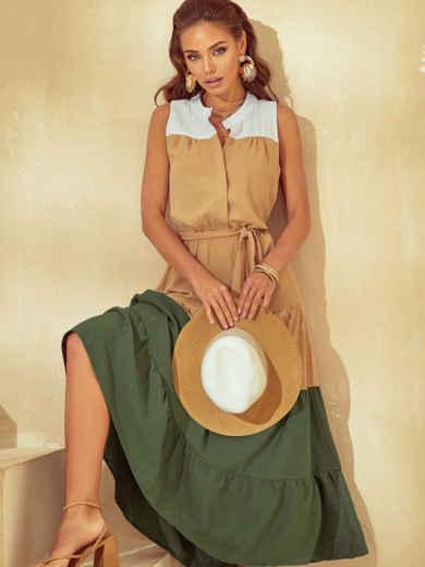 Трехцветное платье-макси без рукавов с воротником-стойкой 54833, фото 1