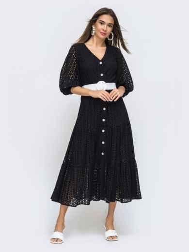Расклешенное платье черного цвета из прошвы  48282, фото 1