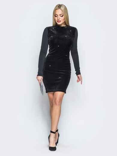 Бархатное платье черного цвета с фурнитурой 18061, фото 1