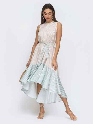 Бежевое платье свободного кроя в полосу с удлинённой спинкой 48288, фото 1