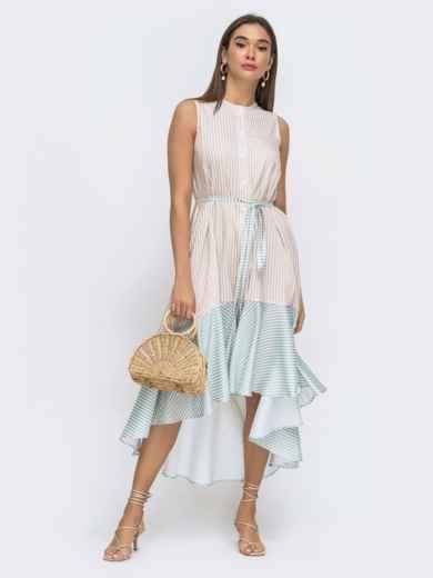Бежевое платье свободного кроя в полосу с удлинённой спинкой 48288, фото 2