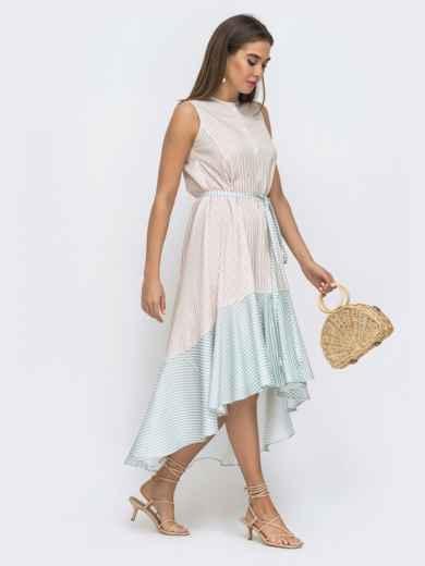 Бежевое платье свободного кроя в полосу с удлинённой спинкой 48288, фото 3