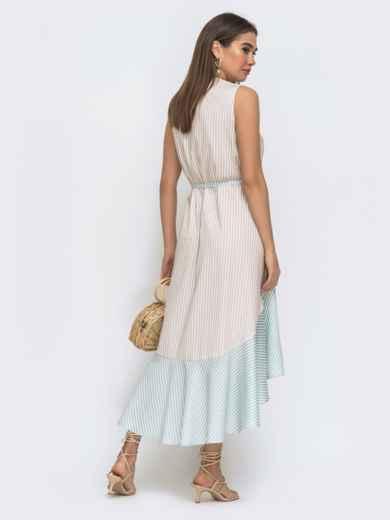 Бежевое платье свободного кроя в полосу с удлинённой спинкой 48288, фото 4