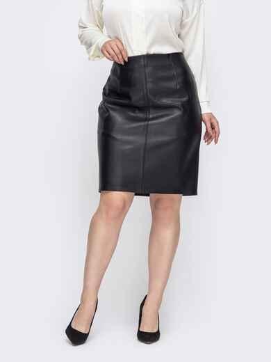 Чёрная юбка большого размера из эко-кожи 50812, фото 1