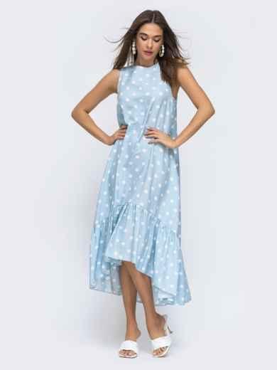 Голубое платье в горох с широкой оборкой по низу 48293, фото 2
