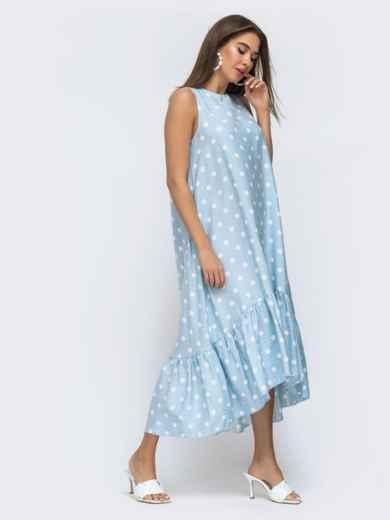 Голубое платье в горох с широкой оборкой по низу 48293, фото 3