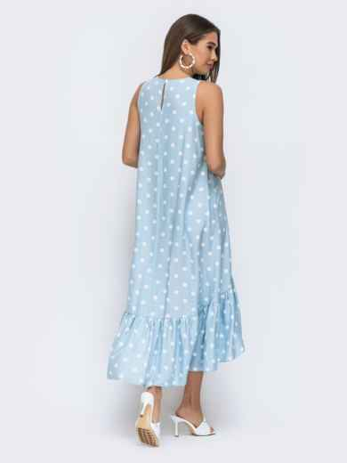Голубое платье в горох с широкой оборкой по низу 48293, фото 4
