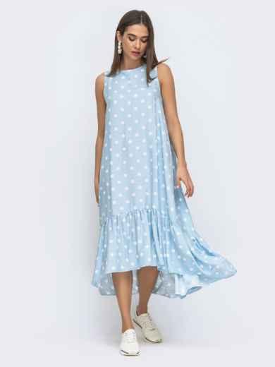 Голубое платье в горох с широкой оборкой по низу 48293, фото 5