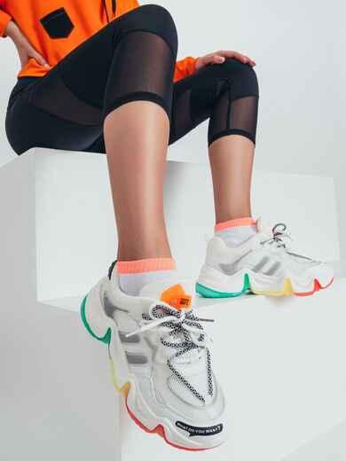 Кроссовки с контрастной подошвой белые 50455, фото 1
