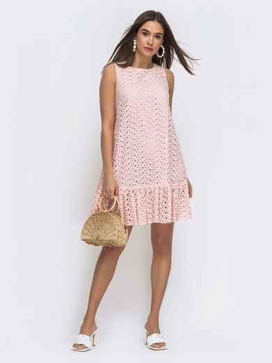 Платье-трапеция из прошвы с воланом по низу розовое  48287, фото 1