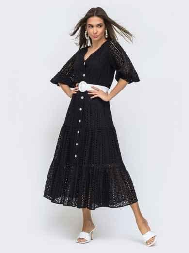 Расклешенное платье черного цвета из прошвы  48282, фото 2