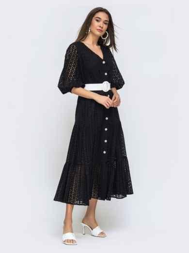 Расклешенное платье черного цвета из прошвы  48282, фото 3