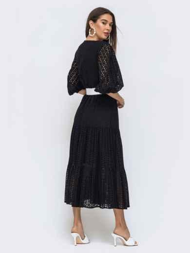 Расклешенное платье черного цвета из прошвы  48282, фото 4