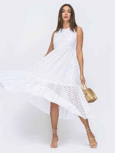 Расклешенное платье–миди из прошвы с подкладкой белое 48280, фото 1
