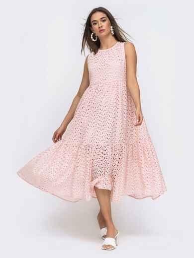 Расклешенное платье–миди из прошвы с подкладкой розовое 48279, фото 1